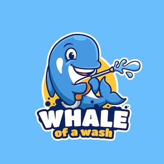 Mascota de dibujos animados de ballena de wash