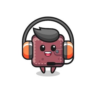 Mascota de dibujos animados de billetera de cuero como servicio al cliente
