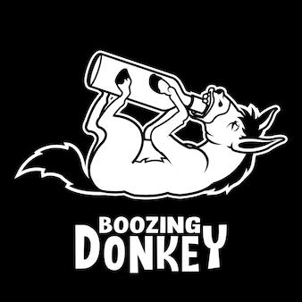 Mascota de dibujos animados burro borracho