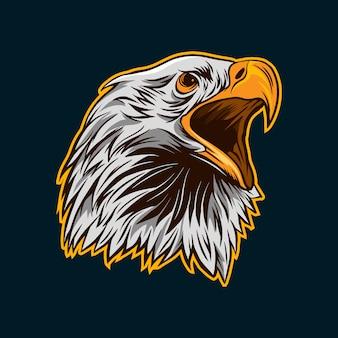 Mascota de dibujos animados de cabeza de águila