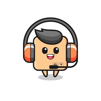 Mascota de dibujos animados de caja de cartón como servicio al cliente, diseño de estilo lindo para camiseta, pegatina, elemento de logotipo