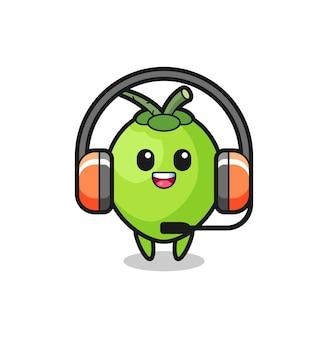 Mascota de dibujos animados de coco como servicio al cliente, diseño de estilo lindo para camiseta, pegatina, elemento de logotipo