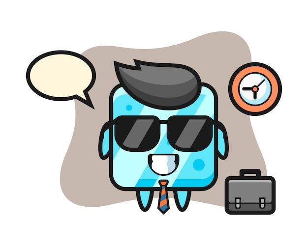 Mascota de dibujos animados de cubo de hielo como empresario