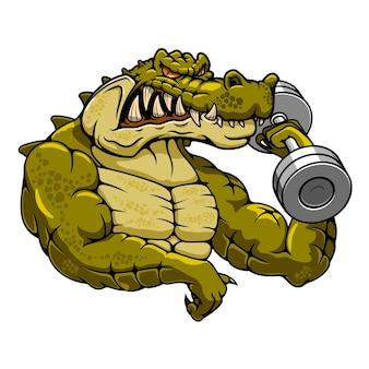 Mascota de dibujos animados de culturista de cocodrilo musculoso fuerte con pesa para tema de mascota de gimnasio o fitness