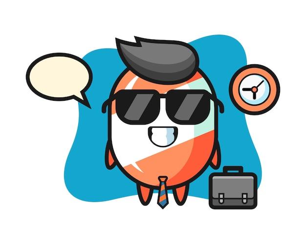 Mascota de dibujos animados de dulces como empresario