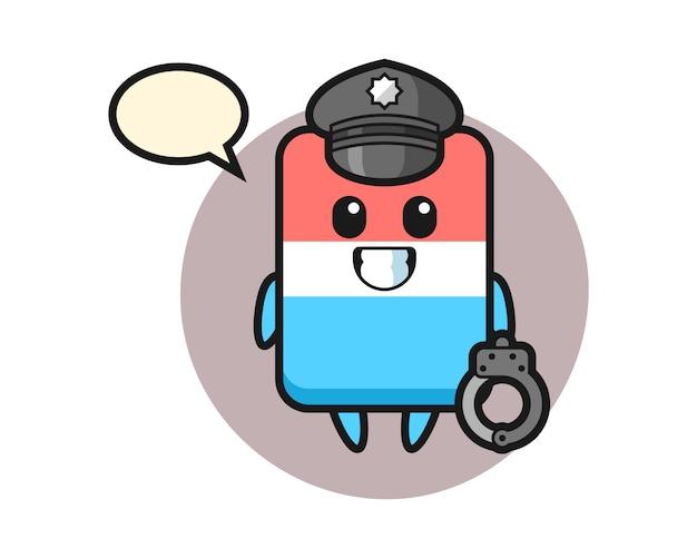 Mascota de dibujos animados de goma de borrar como policía, estilo lindo, pegatina, elemento de logotipo