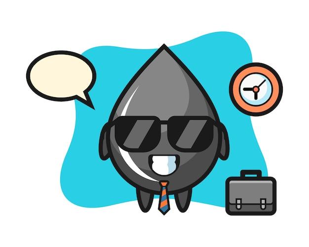 Mascota de dibujos animados de gota de aceite como empresario