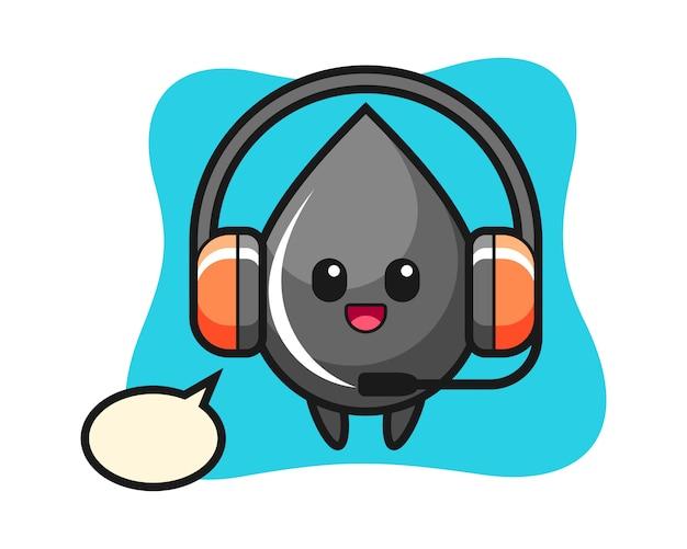 Mascota de dibujos animados de gota de aceite como servicio al cliente