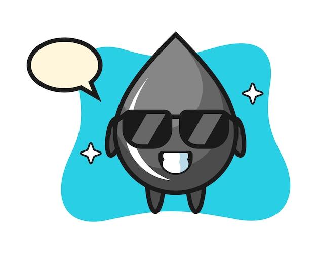 Mascota de dibujos animados de gota de aceite con gesto fresco