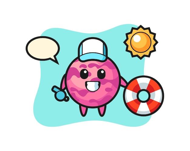 Mascota de dibujos animados de helado como un protector de playa, diseño de estilo lindo para camiseta, pegatina, elemento de logotipo