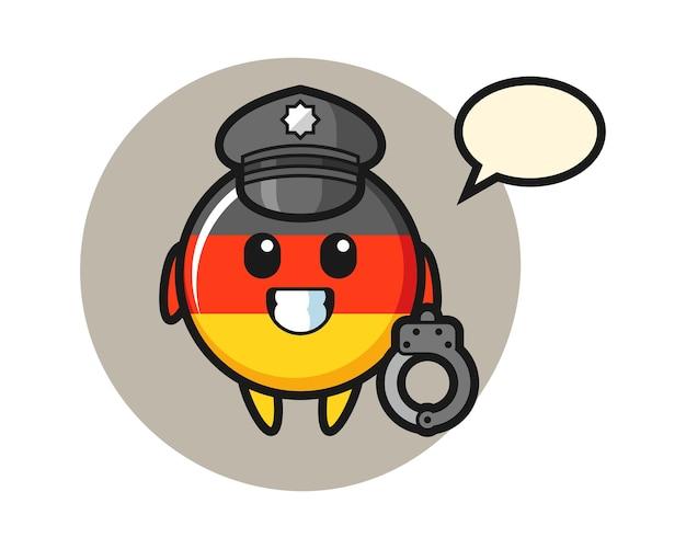 Mascota de dibujos animados de la insignia de la bandera de alemania como policía
