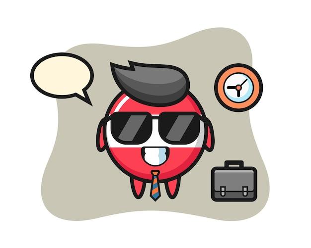 Mascota de dibujos animados de la insignia de la bandera de austria como empresario