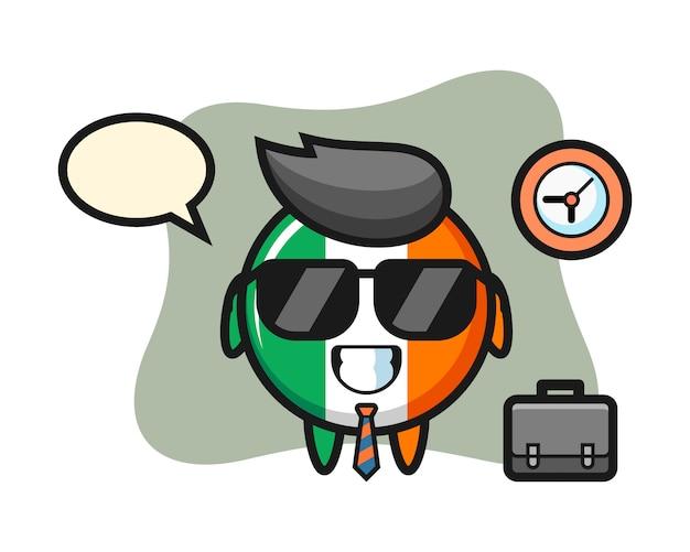 Mascota de dibujos animados de la insignia de la bandera de irlanda como empresario