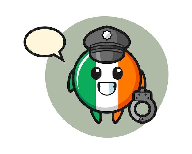 Mascota de dibujos animados de la insignia de la bandera de irlanda como policía