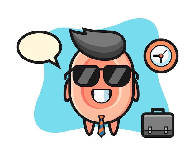 Mascota de dibujos animados de jabón como empresario, lindo estilo para camiseta, pegatina, elemento de logotipo