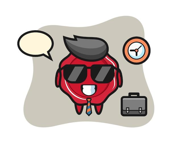 Mascota de dibujos animados de lacre como empresario