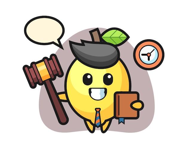 Mascota de dibujos animados de limón como juez