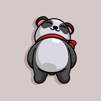 Mascota de dibujos animados lindo panda durmiendo