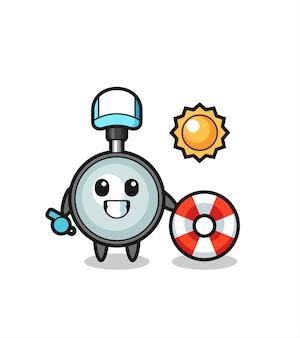Mascota de dibujos animados de lupa como guardia de playa, diseño de estilo lindo para camiseta, pegatina, elemento de logotipo