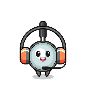 Mascota de dibujos animados de lupa como servicio al cliente, diseño de estilo lindo para camiseta, pegatina, elemento de logotipo