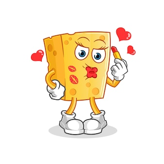 Mascota de dibujos animados de maquillaje de queso