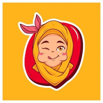 Mascota de dibujos animados de niña hijab delicioso