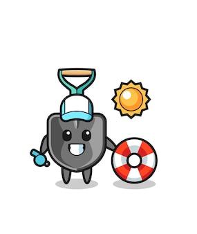 Mascota de dibujos animados de pala como guardia de playa, diseño lindo