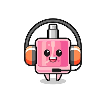Mascota de dibujos animados de perfume como servicio al cliente, diseño de estilo lindo para camiseta, pegatina, elemento de logotipo