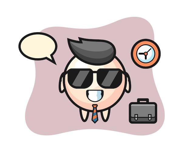 Mascota de dibujos animados de perla como empresario