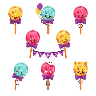 Mascota de dibujos animados de personaje de ilustración de palo de caramelo de lollipop