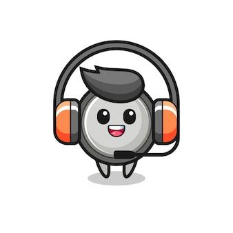Mascota de dibujos animados de pila de botón como servicio al cliente, diseño de estilo lindo para camiseta, pegatina, elemento de logotipo