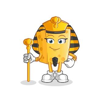 Mascota de dibujos animados de queso antiguo egipto
