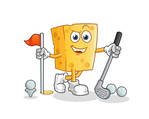 Mascota de dibujos animados de queso jugando golf