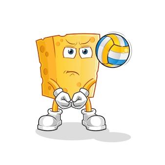 Mascota de dibujos animados de voleibol de juego de queso