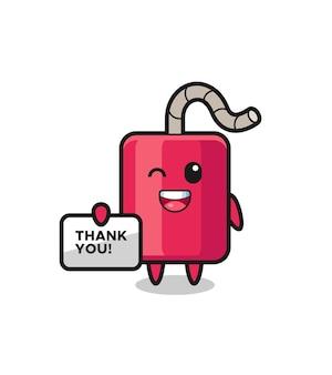 La mascota de la dinamita sosteniendo una pancarta que dice gracias, diseño de estilo lindo para camiseta, pegatina, elemento de logotipo