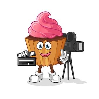 Mascota del director de la torta de la taza