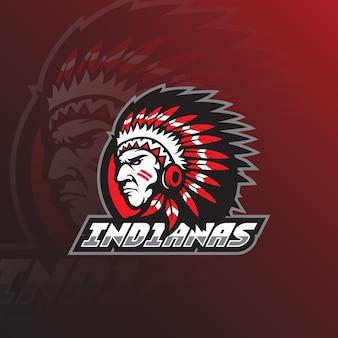 Mascota de diseño de logotipo de tribu india con estilo de concepto de ilustración moderna para impresión de insignia, emblema y camiseta.