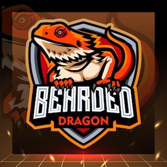 Mascota del dragón barbudo. diseño de logo de esport