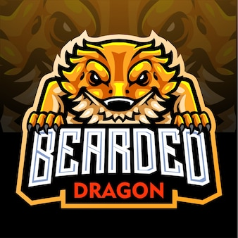 Mascota del dragón barbudo. logotipo de esport