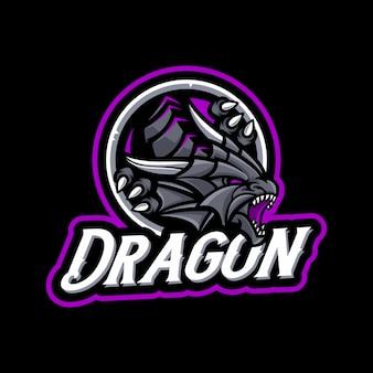 Mascota del dragón en fondo oscuro