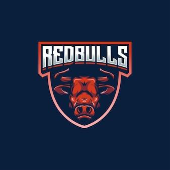 Mascota del e-sport del escudo de los red bulls