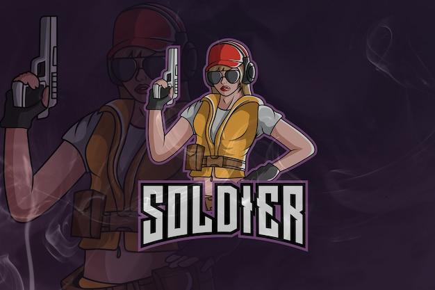 Mascota del ejército de soldado femenino y logotipo de esport
