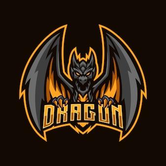 Mascota enojada del esport del dragón negro