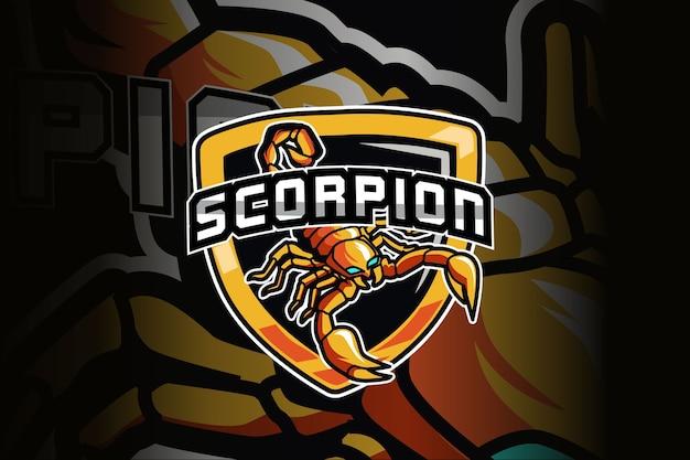 Mascota de escorpión para el logotipo de deportes y esports aislado