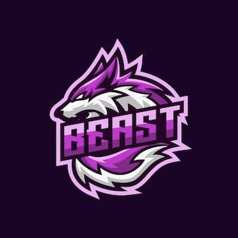 Mascota esport púrpura lobo