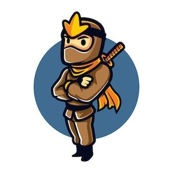 Mascota estable de dibujos animados ninja