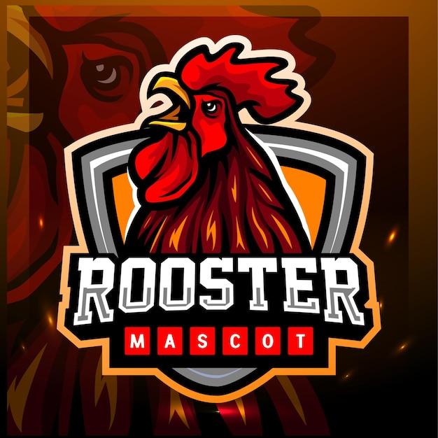 Mascota de gallo. diseño de logo de esport