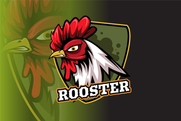 Mascota del gallo para el logotipo de deportes y esports aislado sobre fondo oscuro