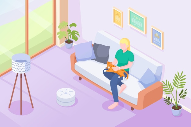 Mascota gato y dueño en el sofá en casa, isométrica. mujer o niña sentada en el sofá con gato o gatito de rodillas, acariciar y abrazar, mascotas domésticas en casa, interior moderno