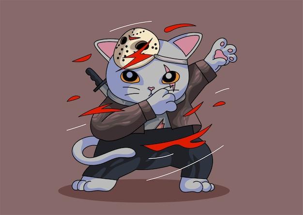 Mascota de halloween gato lindo dabbing